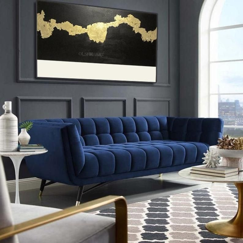 Gold Leaf Original Painting On Canvas Abstract Painting With Etsy Blue Sofa Living Velvet Sofa Living Room Blue Sofas Living Room