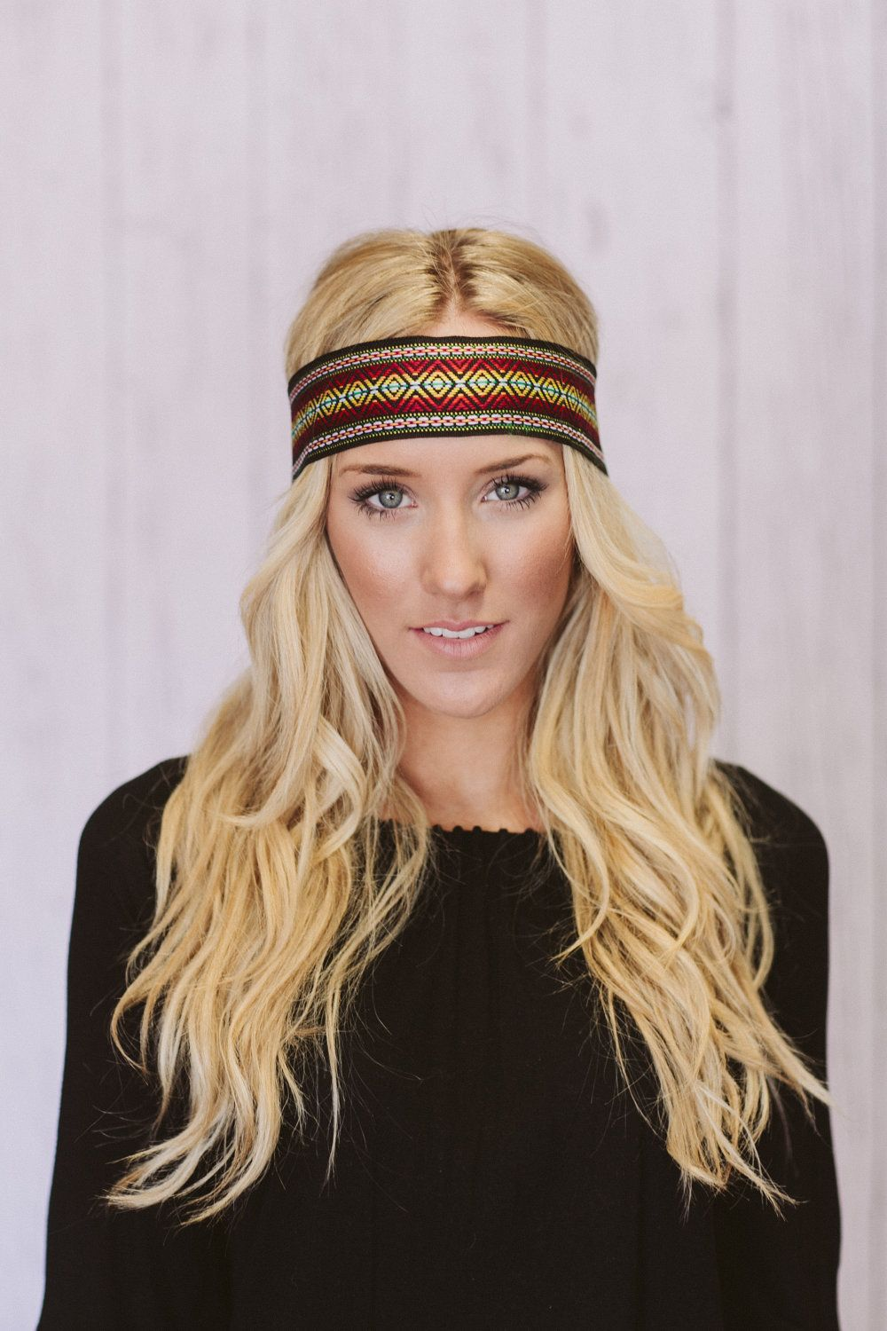 bohemian embroidered wide hippie headband colorful. | my