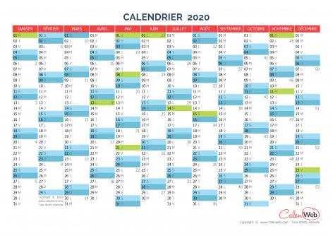 Calendrier Ludique A Imprimer 2020.Calendrier Annuel Annee 2020 Avec Jours Feries