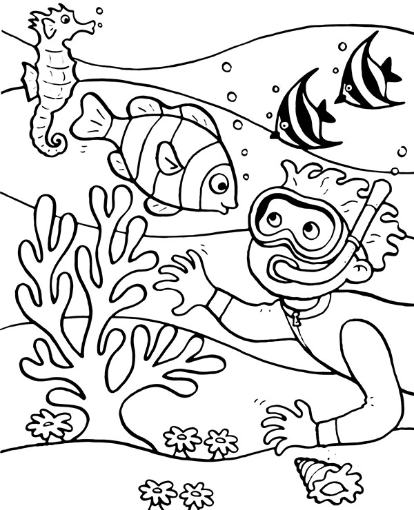 Topcoloringpages Net: Coral Reef Coloring Page To Print For Free, Fish Coloring
