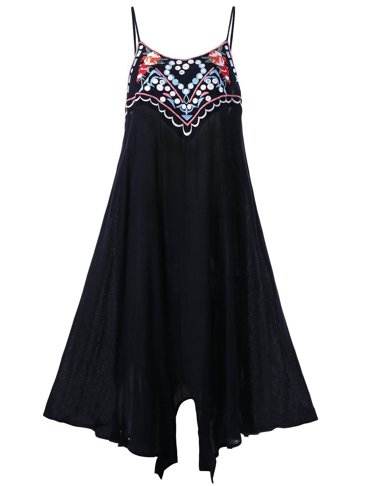 Plus size embroidery slip summer dress in black xl sammydress