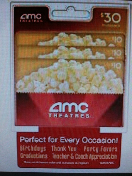 AMC Movie Gift Cards $30.00 | cards | Pinterest | Amc movies ...