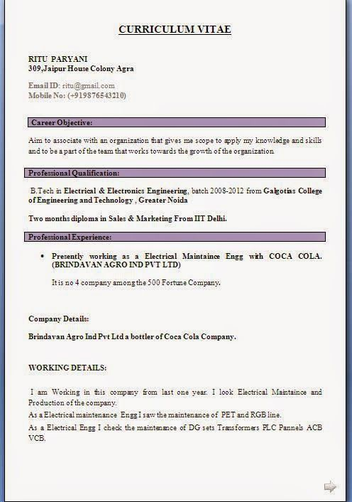 example resume format Sample Template Example ofExcellent - profile example on resume