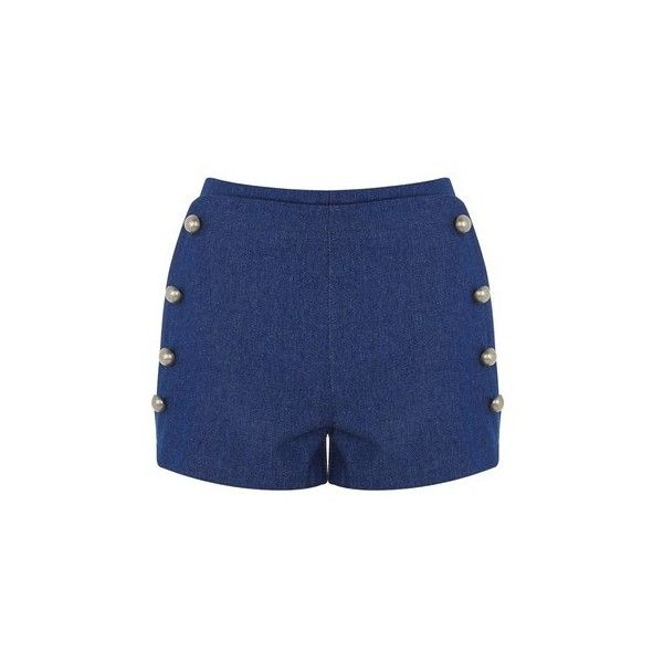 Stevie Blue Denim Double Breasted Shorts by Wyldr (790 MXN) ❤ liked on Polyvore featuring shorts, blue, denim shorts, denim short shorts, sailor shorts, blue jean shorts and blue denim shorts