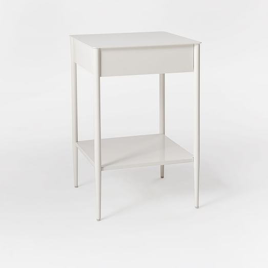 Metalwork Nightstand - White Lacquer