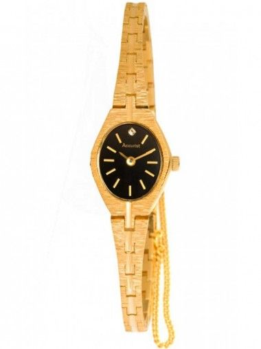 Accurist Ladies Oval Black Dial Brcelet Watch. From Accurist is the gorgeous gold plated stainless steel watch. With its slender design this elegant timepiece will look beautiful on any ladies wrist. The black dial uses slim gold baton hour markers.