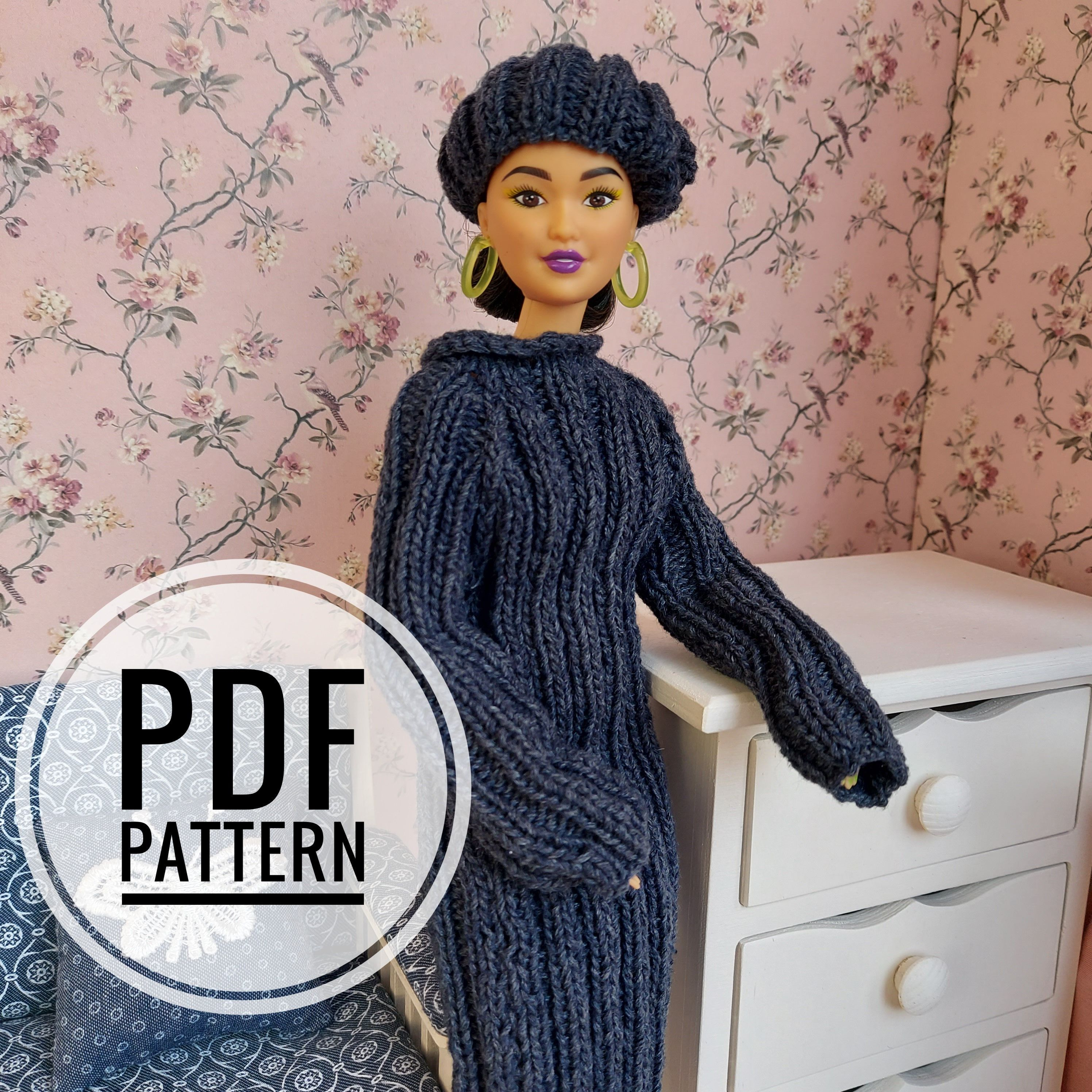Barbie Knitting Pattern Barbie Sweater Dress Knit Tutorial Etsy Barbie Doll Clothing Patterns Barbie Knitting Patterns Barbie Clothes [ 2992 x 2992 Pixel ]