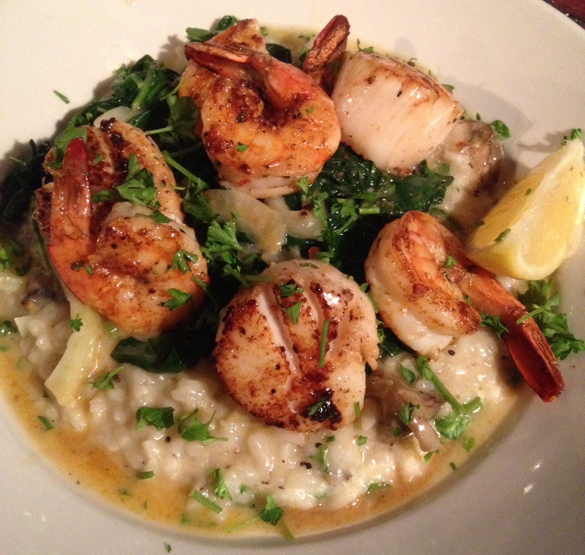 Jumbo Sea Scallops & Shrimp With Mushroom Risotto, Spinach