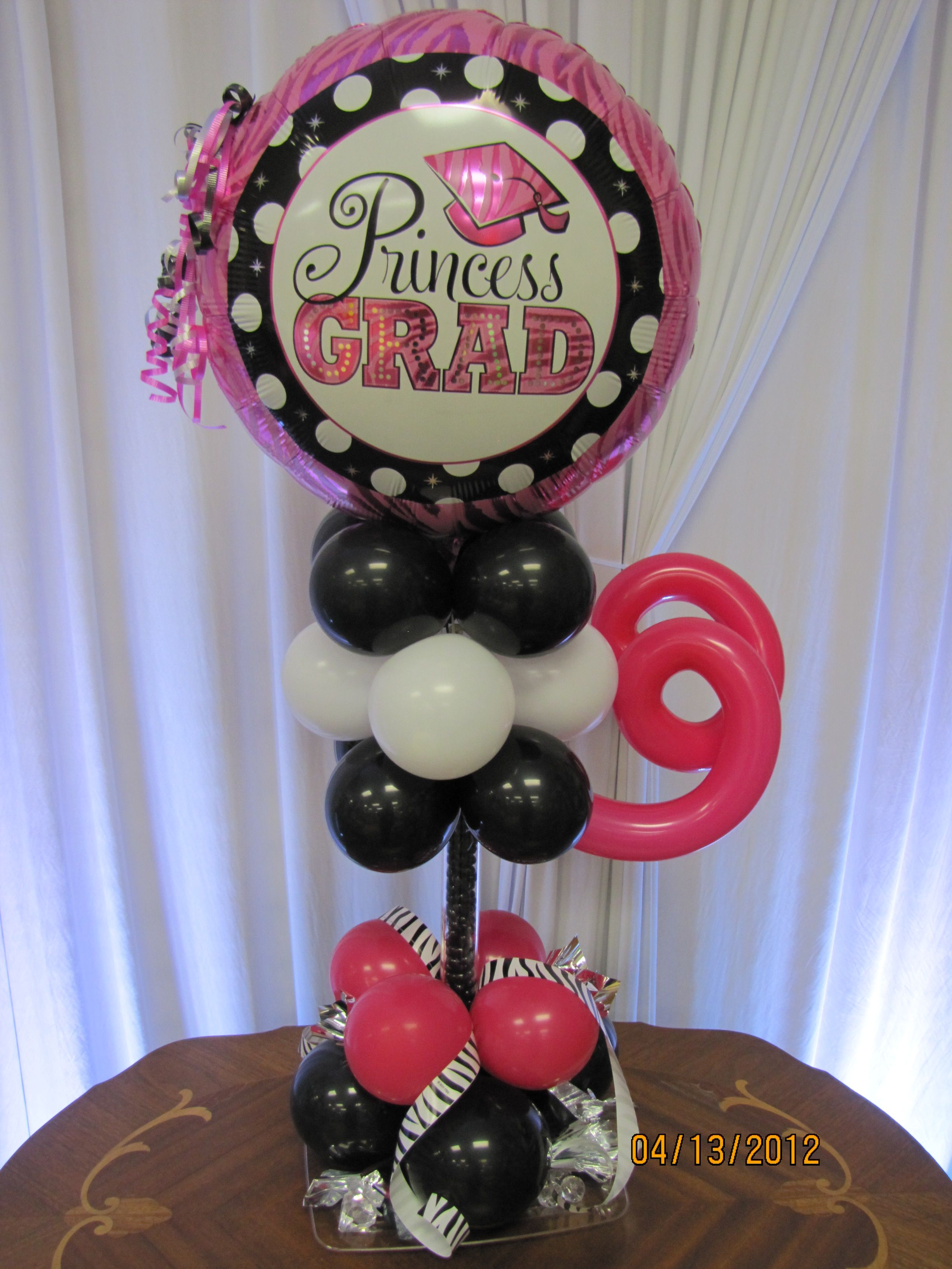 Balloon centerpieces candy dish graduation balloon for Birthday balloon centerpiece ideas