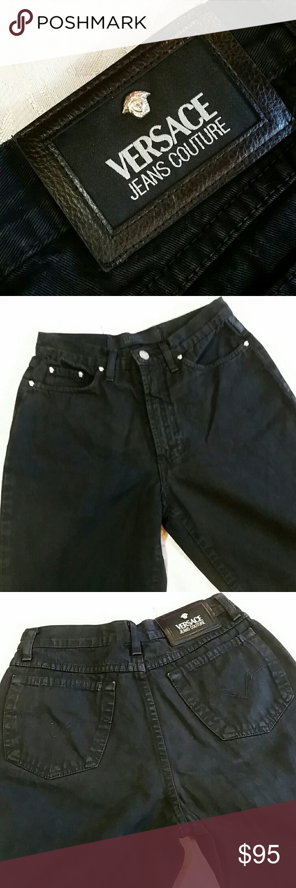 dbd86d3e3e857 Vintage Versace Mom Jeans Black vintage 90 s high waisted tapered leg jeans  known today as