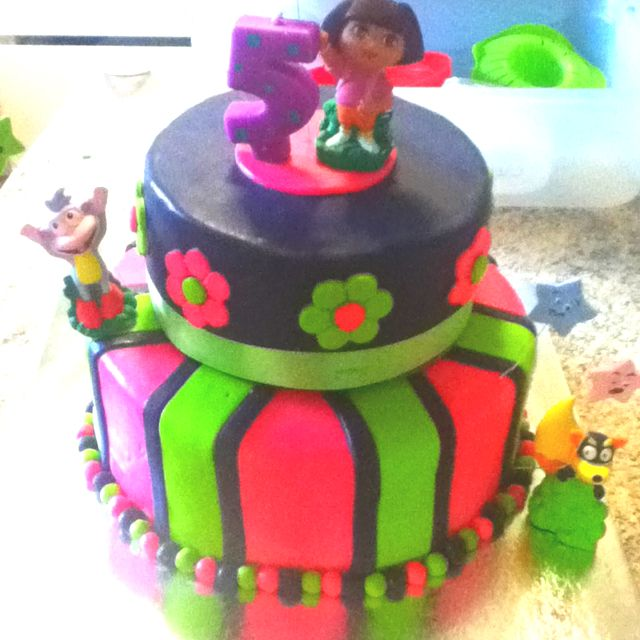 My 2nd fondant cake and 1st Dora cake for my nieces 5th bday