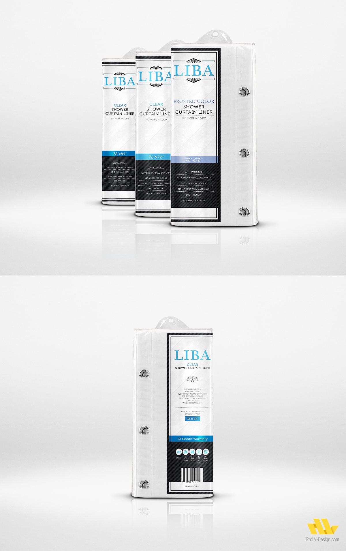 Finished Label Design Project For Liba Shower Curtain Liner