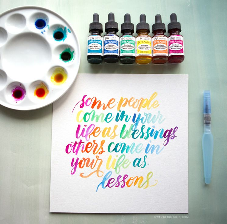 Watercolor Lettering With Dr Ph Martins Radiant Concentrated Water Color Tutorial By Kristina Werner