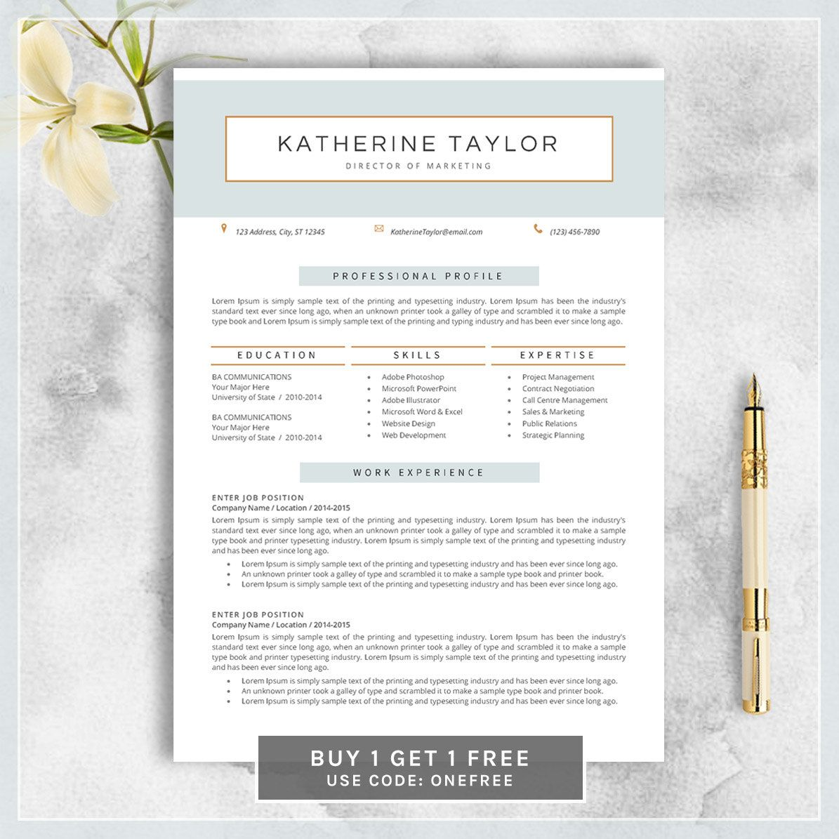 Professional Resume Template Cv Template By Cvtemplatesbydesign