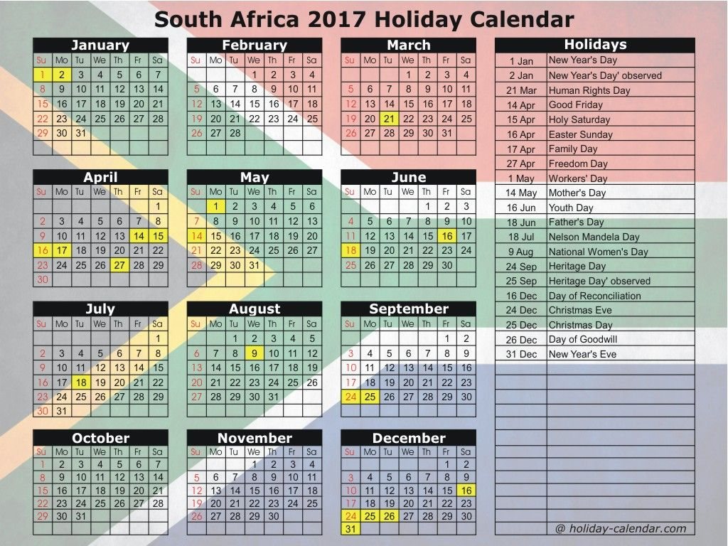 South Africa 2017 Holiday Calendar Holiday Calendar 2018 Holiday Calendar South Africa Holidays
