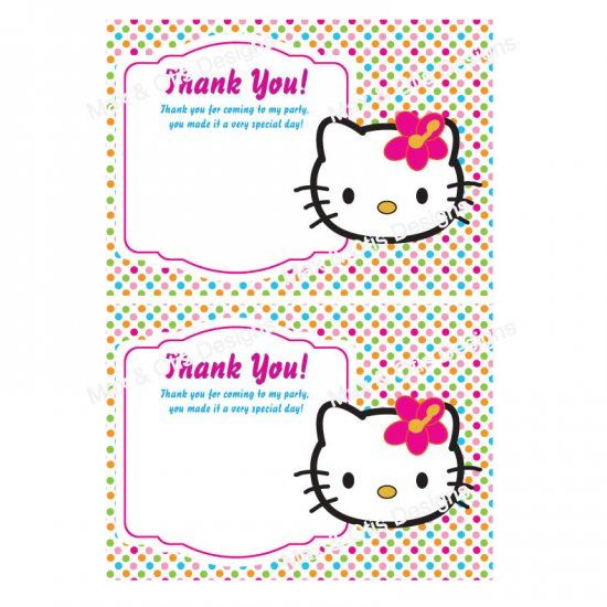 Printable Hello Kitty Birthday Thank You Cards Able Pdf With Editable Fields