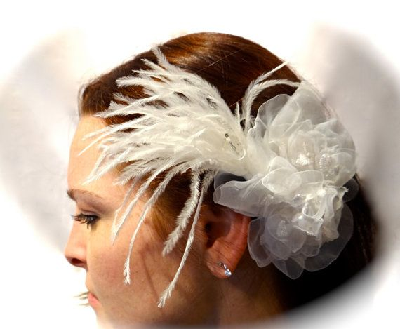 White Organdy Bridal Hairpiece Embroidered by Marcellefinery, $24.00