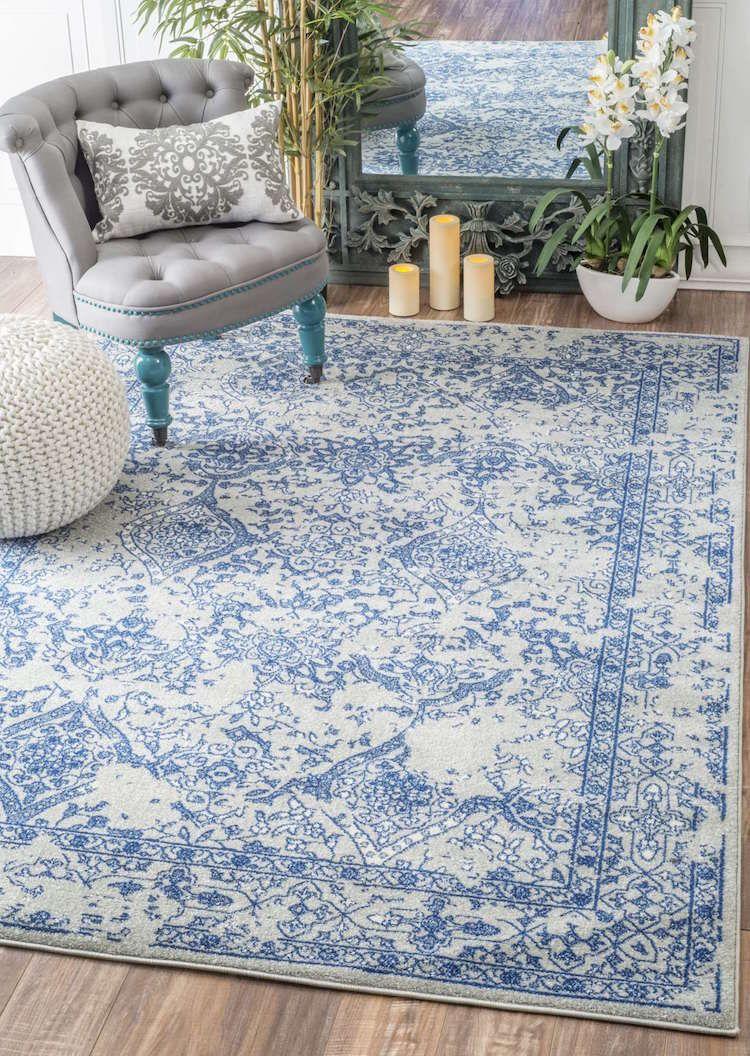 Vvintage Teppiche Modern Gemuetlich Opersische Muster Weiss Blau