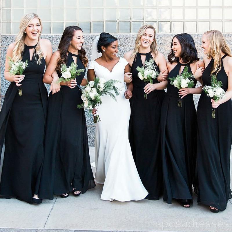 2018 Halter Custom Chiffon Long Black Bridesmaid Dresses Wg225 Black Bridesmaid Dresses Long Black Bridesmaid Dresses Bridesmaid Dresses Online