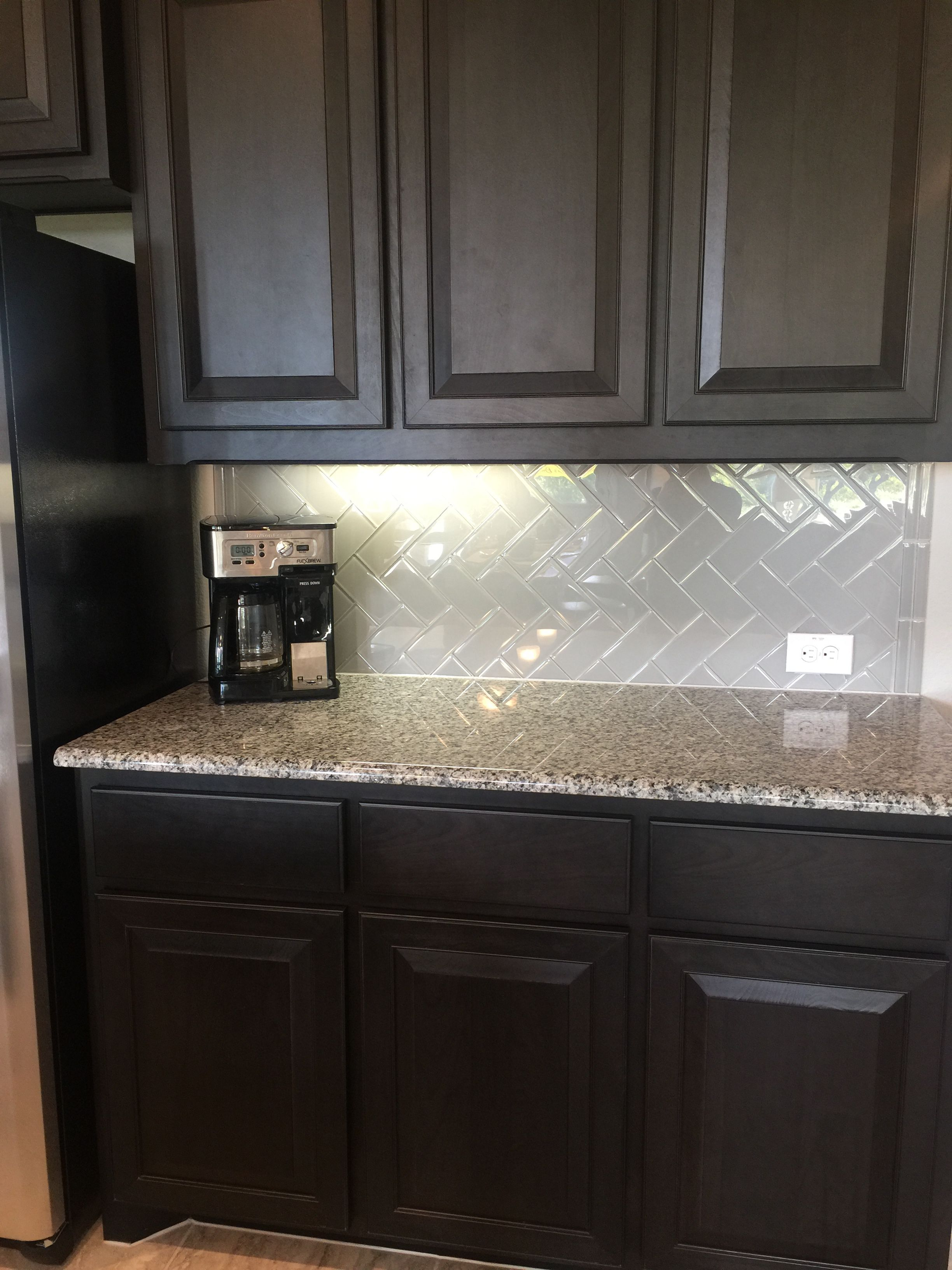 Dark Cabinets With Light Granite In 2019 Espresso Kitchen