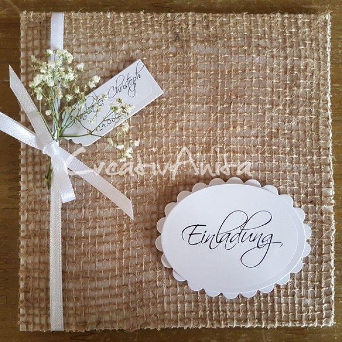 Einladungskarte Natur Mit Jute Konfirmation Karte Hochzeit