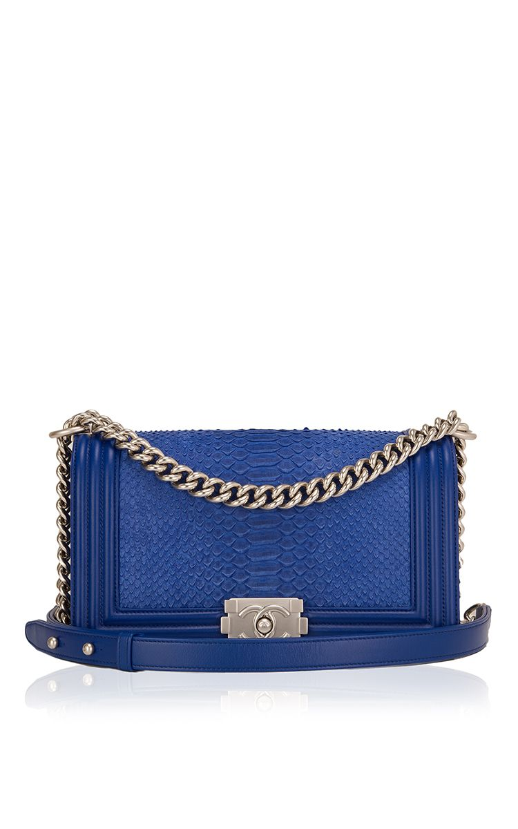 63a48b1a2550 Chanel Blue Python Medium Boy Bag by Madison Avenue Couture for Preorder on  Moda Operandi