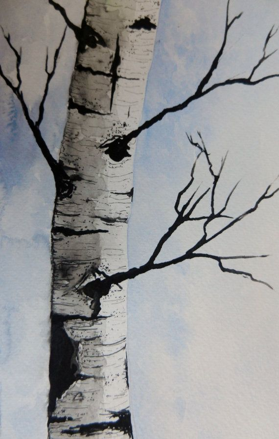 Original Watercolor Painting Maine Birch Tree By Pinetreeart