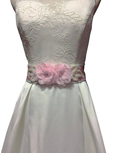 Lemandy Handmade Flower And Cristal Bridal Sash Belts For