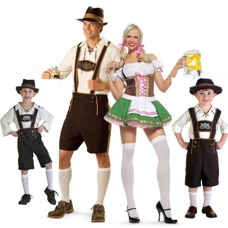Les Adultes Bavarois Costumes Lederhosen Homme Femme Fête De La Bière Allemande Fancy Dress