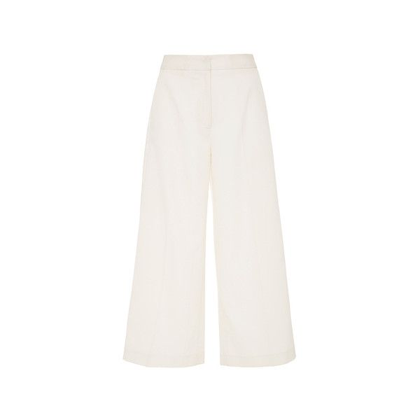 Racil San Francisco Culottes (€475) ❤ liked on Polyvore featuring pants, capris, white cuffed pants, cuff pants, cuffed cropped pants, white wide leg pants and wide leg trousers
