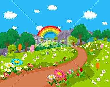 Cartoon Natural Landscape Rainbow Background