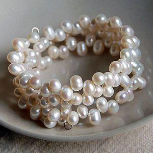 Triple Strand Pearl Wire Cuff Bracelet
