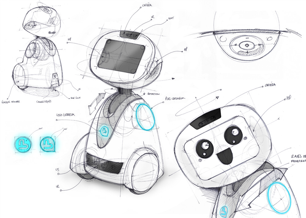 sketch robot compagnon buddy bluefrogrobotics product design by ova design robotics pinterest. Black Bedroom Furniture Sets. Home Design Ideas