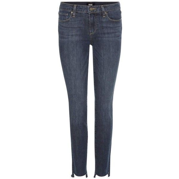 Paige Skyline Ankle Peg Mid-Rise Skinny Jeans ($370) ❤ liked on Polyvore featuring jeans, blue, medium rise jeans, paige denim, denim skinny jeans, paige denim jeans and blue skinny jeans