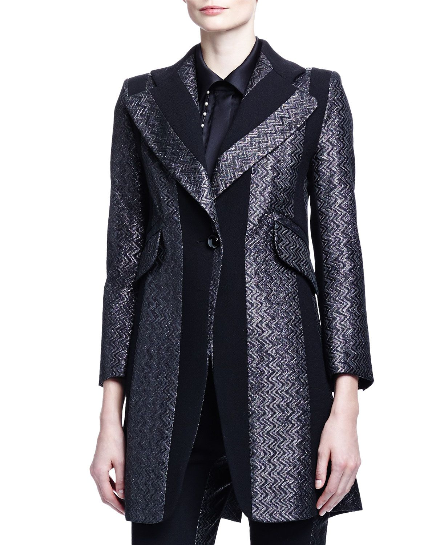 57a8ac8bf2 Paneled Zigzag Brocade Long Jacket | COATS YES PLEASE | Long jackets ...