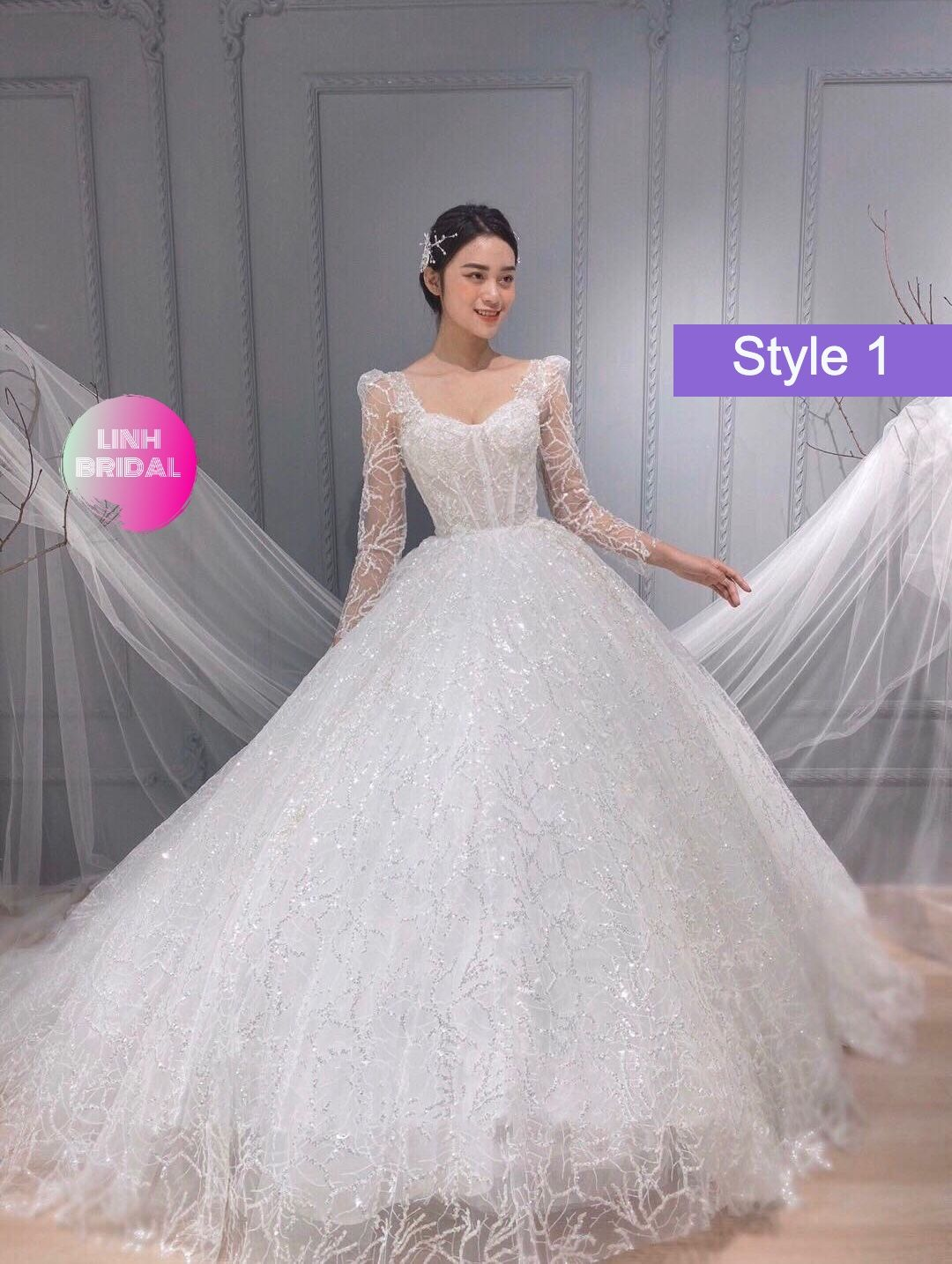 Snow White Sparkly Long Sleeves Ball Gown Wedding Dress With Train And Glitter Tulle Various Styles Long Sleeve Ball Gown Wedding Dress Long Sleeve Ball Gowns Glitter Wedding Dress [ 1434 x 1080 Pixel ]