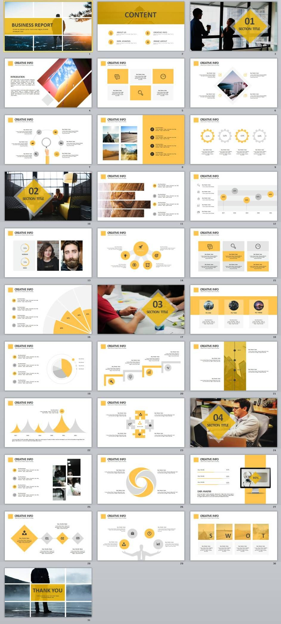 31+ Best yellow business report PowerPoint template | 2018 Business ...