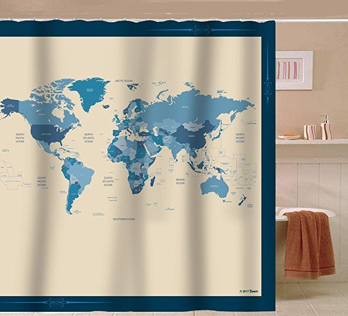 Sunlit Designer New World Map Quality Fabric Shower Curtain With Countries And Ocean