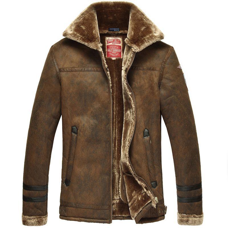 Sıcak kış yeni erkek lüks deri ceket markası sıcak kürk deri erkek kısa bir paragraf artı boyutu Air Force One kat/m-3xl(China (Mainland))