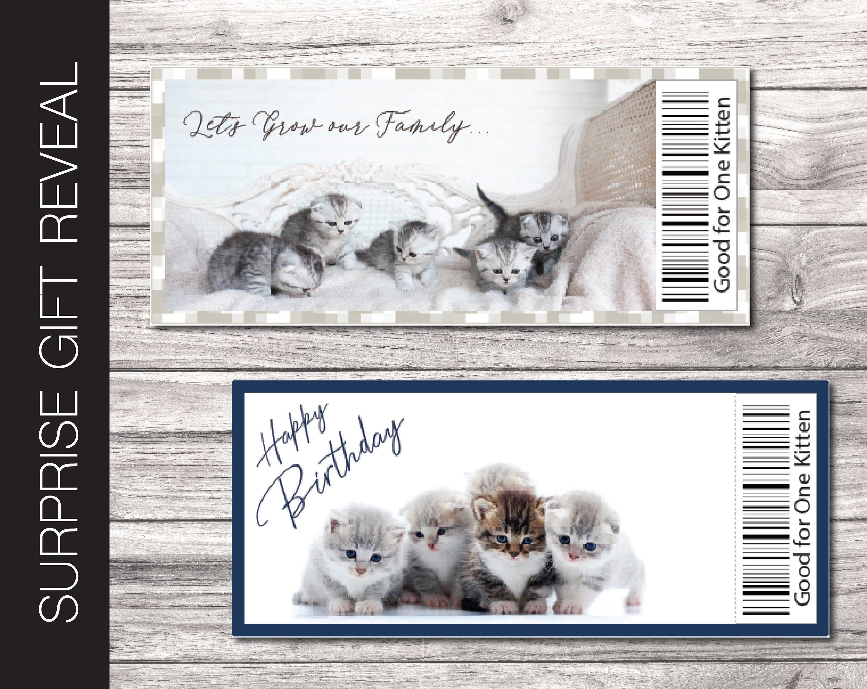 Printable New Kitten Cat Surprise Gift Reveal Coupon Etsy In 2020 Personalized Gift Card Holder Cat Gifts Surprise Gifts
