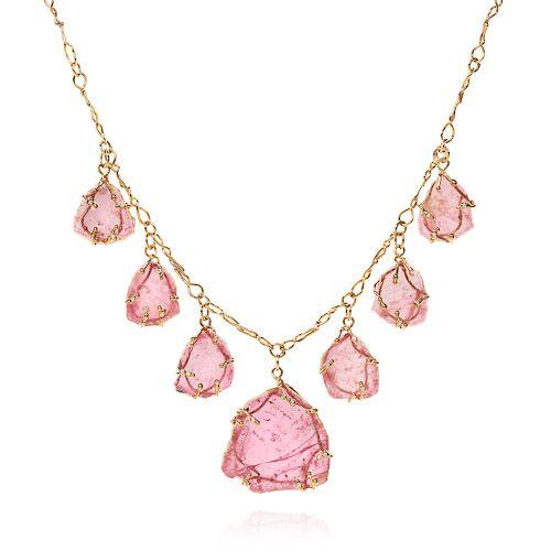 Pink tourmaline slice 'petal' necklace set in 18k yellow vine with diamonds on 18k yellow vine chain.