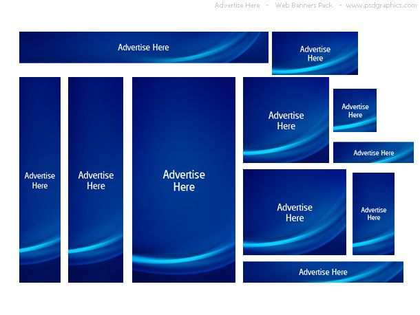 Blue Advertise Here Web Banners Pack Psdgraphics Banner Ads Banner Ad Sizes Banner Ads Layout
