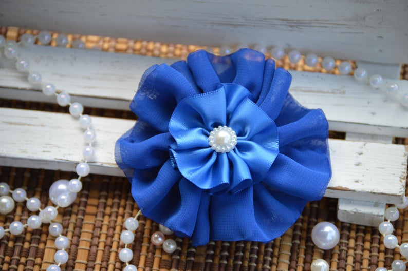 chiffon flowers and Satin Ribbon SAMPLES Blue and Turquoise Tulle