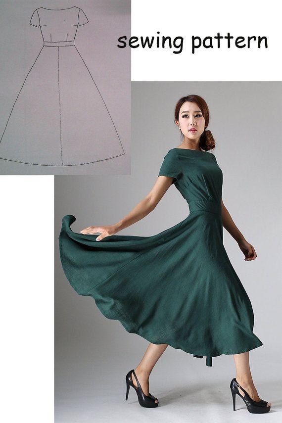 Kleid-Schnittmuster, Kleid Muster, PDF Sewing Patterns, Nähen Muster ...