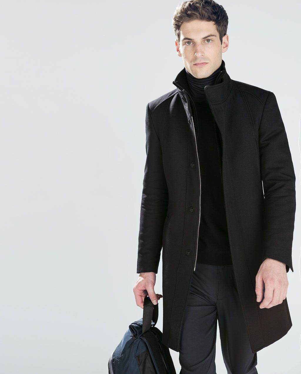 COAT WITH KNIT DETAILING from Zara | Chaquetas hombre