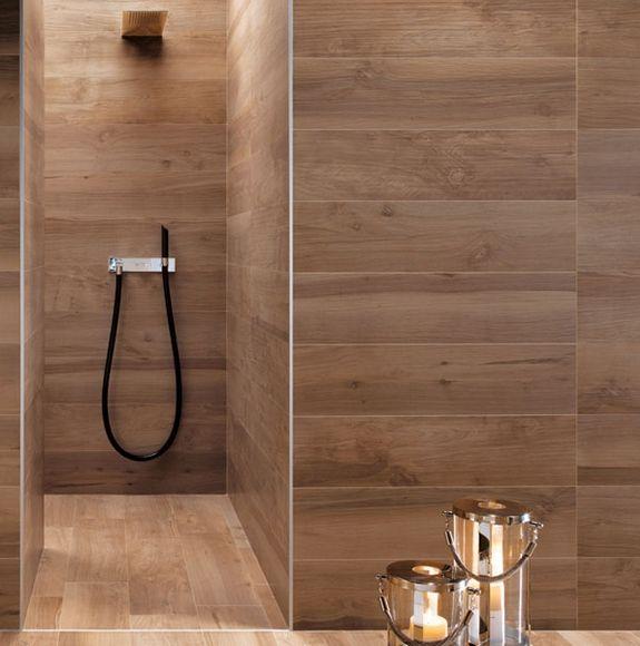 Shower With Wood Grain Tile Design Trend Faux Bois A