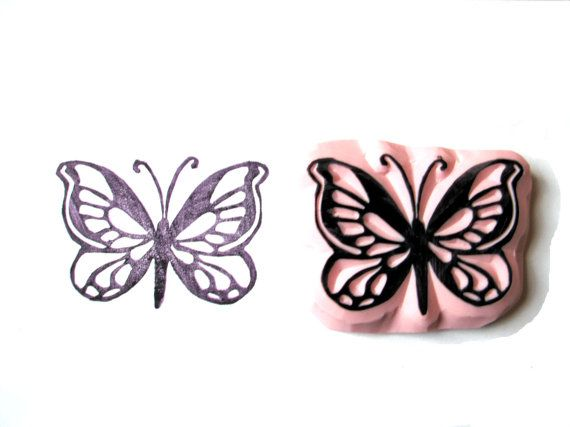 Spring Butterfly Hand Carved Rubber Stamp by SweetSpotStampShop, $8.99