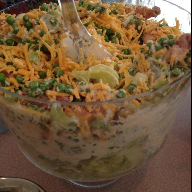 Lettuce Leaves Celery And Turkey Salad On Pinterest: 7 Layer Salad: Iceberg Lettuce, Celery, Green Onions, Peas