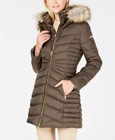 Laundry By Shelli Segal Faux Fur Trim Hooded Quilted Panel Puffer