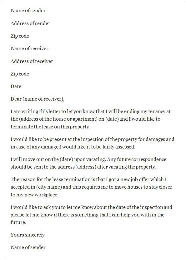 termination letter sample templates end tenancy template from - free termination letter